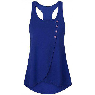Women's Solid Color Button Vest Round Neck