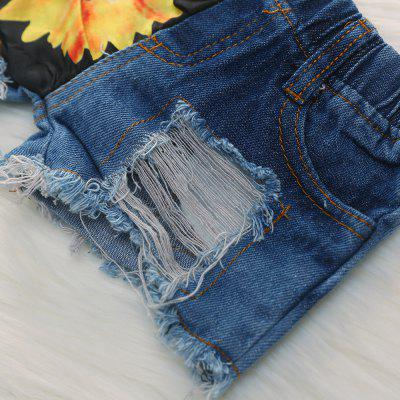 1274 Cotton Off-the-shoulder Top Sunflower Hole Denim Shorts