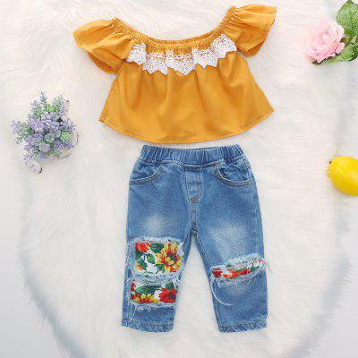 1275 Girls Polyester Lace Flying Sleeves Shirt and Leopard-print Hole Denim Shorts