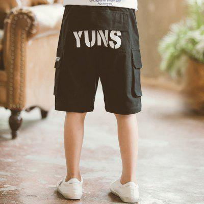 DD1170 Boy Multi-bag Letter Printing Casual Fifth Pants