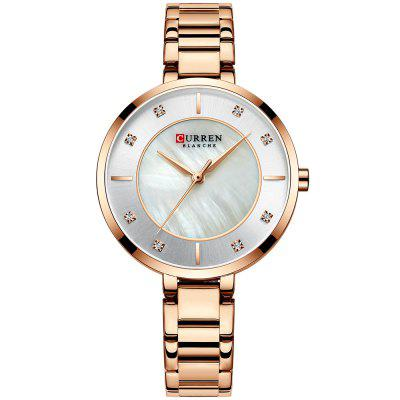 CURREN 9051 Women's Concise Round Dial Waterproof Quartz Watch with Case