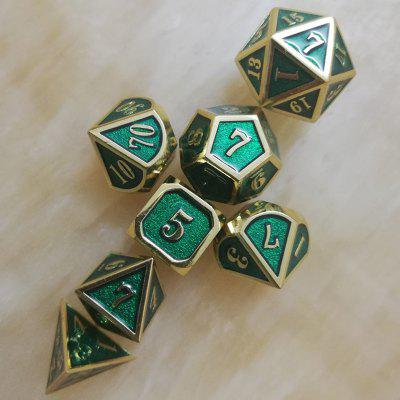 Handmade Solid Metal Dices Decompression Toy 7pcs