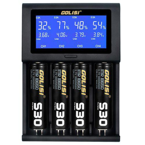 Gearbest GOLISI i4 USB LCD 2A Battery Charger - Black