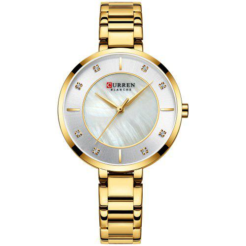 CURREN 9051 Women's Concise Round Dial Waterproof Quartz Watch with Case – Gold 448291501
