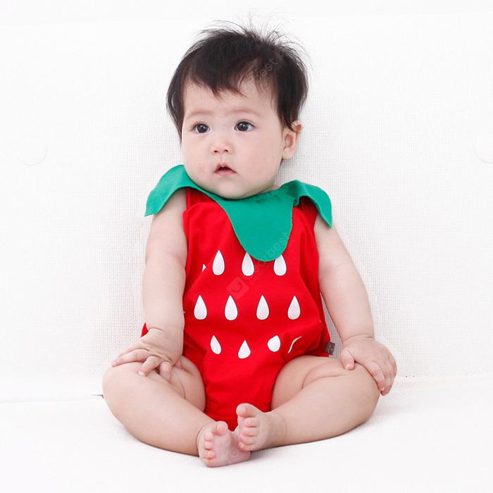 Baby Sleeveless Cotton Romper Trouser  - 0-3month Red