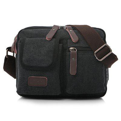 Solid Color Multi-bag Canvas Men's Messenger Bag