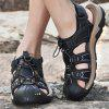 Men's Fashion Casual PU Sandals Hollow-out Breathable - BLACK