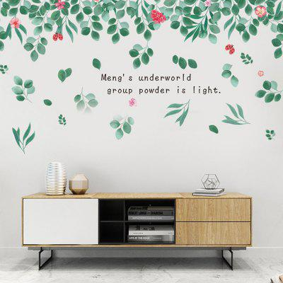 XL8390 Hand Painted Green Leaves Flowers Wall Sticker