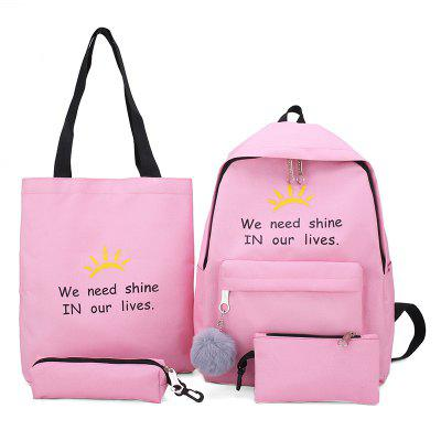Q6611 Fashion Women Canvas Backpack Schoolbag 4pcs
