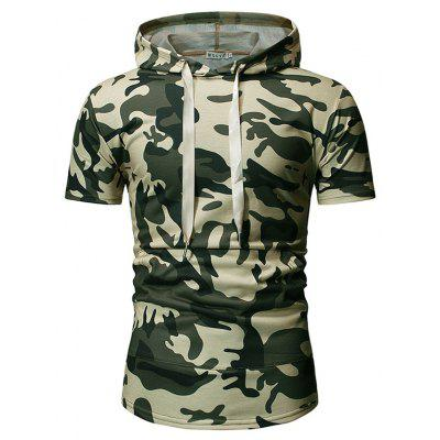 Men's Hooded T-shirt Camouflage Pattern Short Sleeve