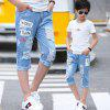 1539 Boy Fashion Classic Letter Print Hole Denim Pants - SKY BLUE