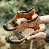 Men's Leather Woven Fabric Sandals Hollow Out Breathable - BROWN