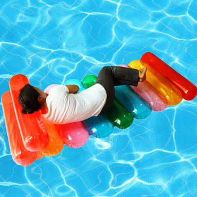 Colorful Horizontal Strip Shape Inflatable Floating Bed