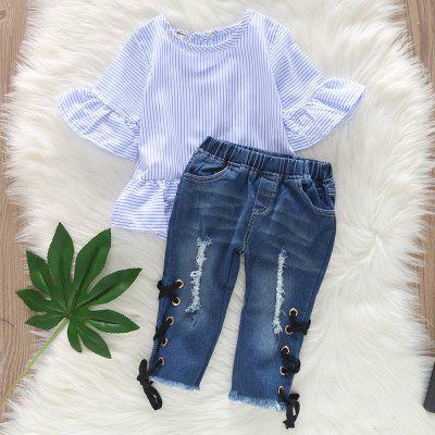 1228 Girls Striped Top Hole Featured Trousers