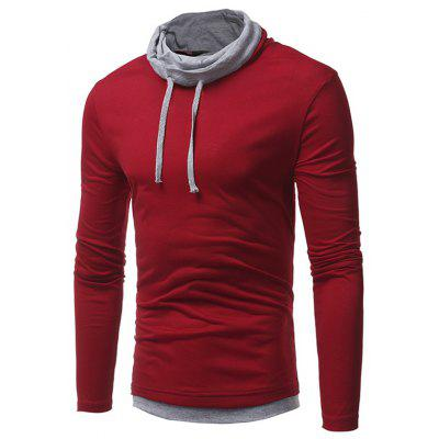 Men's Casual Slim Long Sleeve T-shirt Drawstring