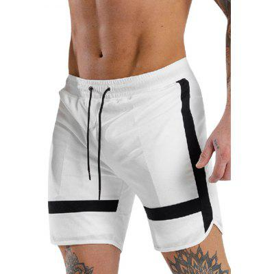 Men's Fashion Striped Waist Drawstring Casual Shorts Beach