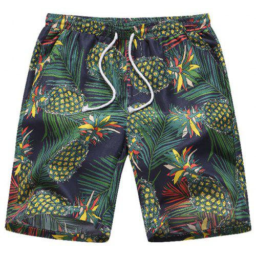 Pineapple and Pineapple Slices Mens Beach Shorts Linen Casual Fit Short Swim Trunks
