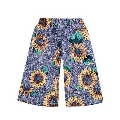 MN168 Trend Flared Pants Flower Print Girls Trousers