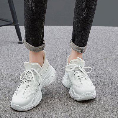 Women's Solid Color Breathable Lace-up Sneakers Durable