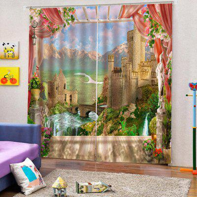 Home Decoration 3D Window Sill Landscape Curtain
