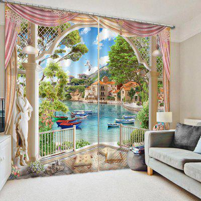 3D Home Decoration Lakeside Curtain