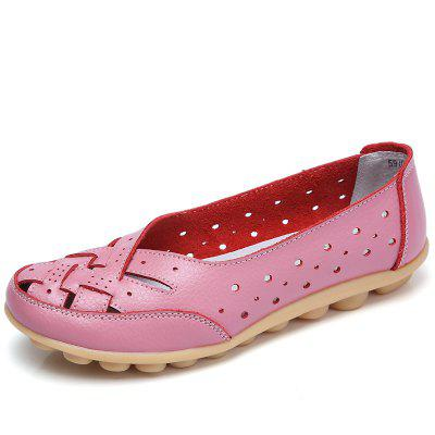 Women's Genuine Leather Hollow Out Casual Shoes Solid Color
