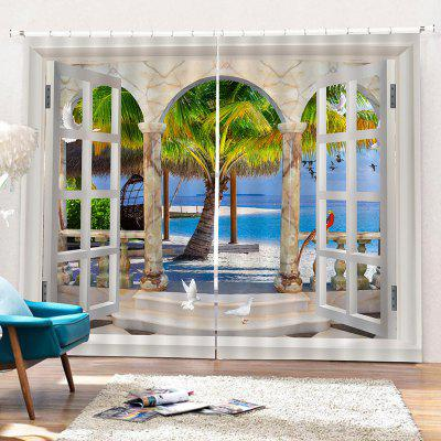 3D Sunny Beach Curtains for Home Use