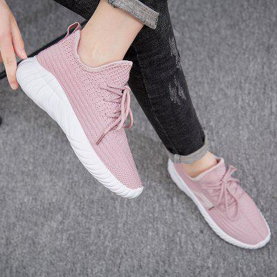 Ladies Summer Mesh Fabric Lace-up Sneakers Stripes