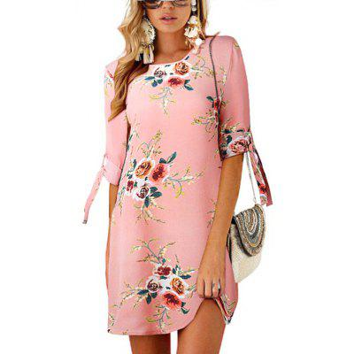 Women's Printed Dress Round Neck with Tie
