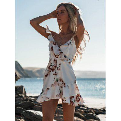 Ladies Printed Dress with Ruffle Backless