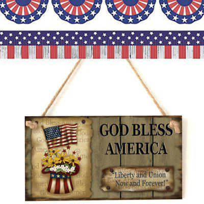 JM01408 Wooden American Independence Day Rectangular Home Decoration Crafts Hanging Board