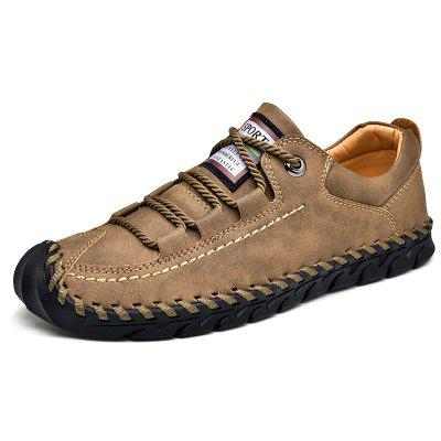 Men's Full Grain Leather Lace-up Casual Shoes Anti-collision Toe