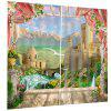 Home Decoration 3D Window Sill Landscape Curtain - BEAN RED
