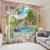 3D Home Decoration Lakeside Curtain - LIGHT SKY BLUE