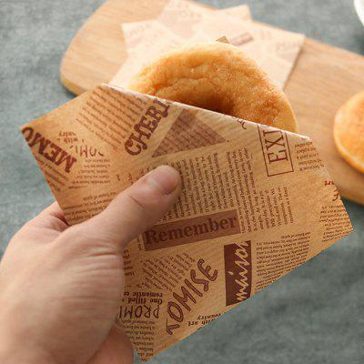 English Pattern Food Greaseproof Paper Bag 100pcs