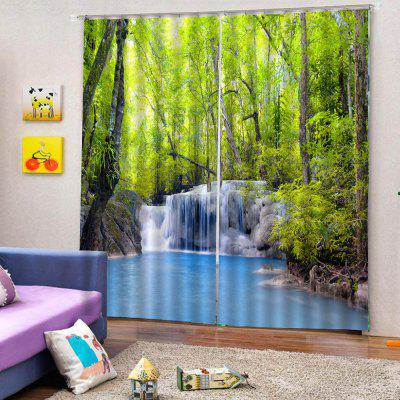 3D Forest Waterfall Curtain 2pcs