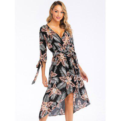 Women's Half Sleeve Lace-up Beach Deep V-neck Dress Print