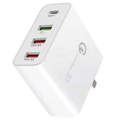 36W QC3.0 7.2A 3USB + Type-C US / UK Universal Fast Charger
