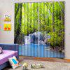 3D Forest Waterfall Curtain 2pcs - MULTI-A