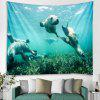 Dolphin Diving Pattern Tapestry Home Decoration - MACAW BLUE GREEN