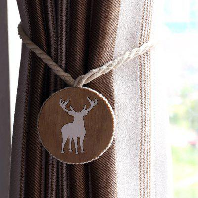 Handmade Wood Carved Curtain Straps Magnet Elk Curtain Buckle