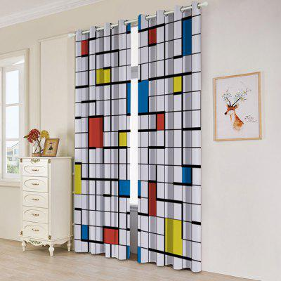 Cartoon Filled Grid Series Blackout Curtain Set