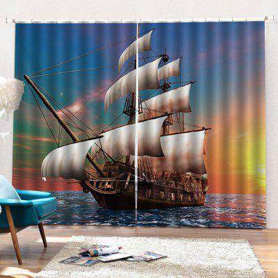 Simple Sea Sailing Curtain 2szt