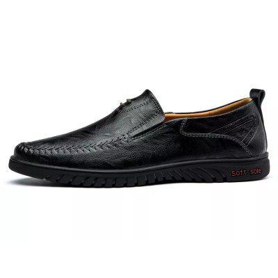 Men's Solid Color Business Cowskin Casual Shoes Driving