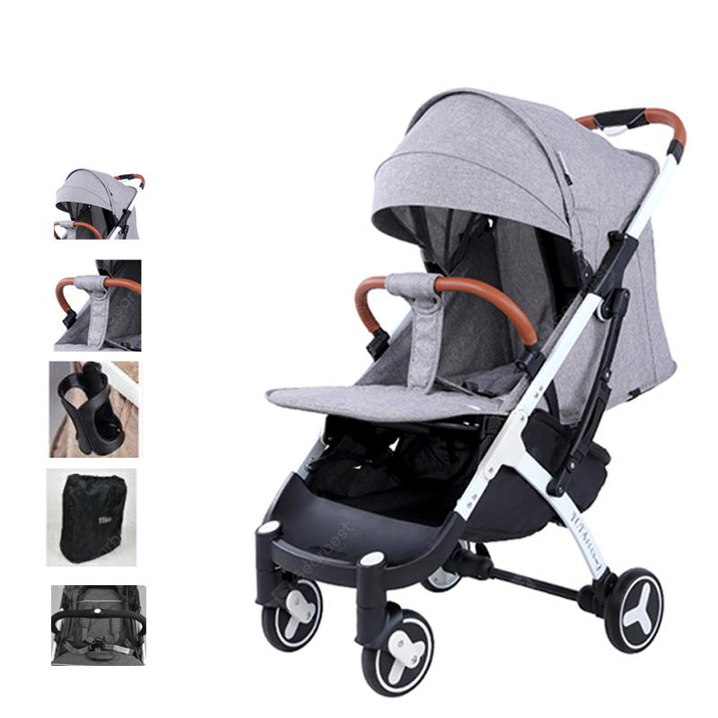 YOYAplus 3 High Landscape Pram Cart Baby Stroller - Gray Black support