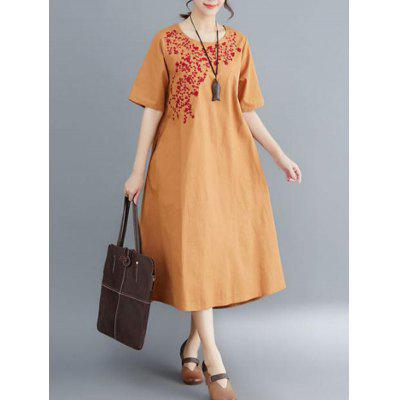 Ladies Print Loose Round Neck Dress Short Sleeves