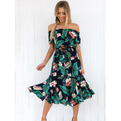 Women Off-the-shoulder Print Dress Elastic Waist