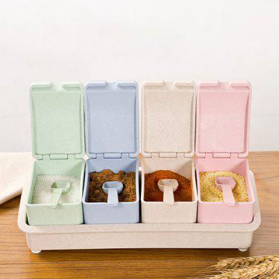Wheat Straw Four Grid with Spoon Spice Box
