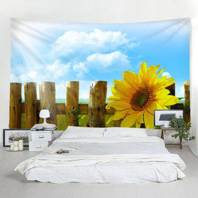 Fence Sunflower Hanging Decorative Tapestry