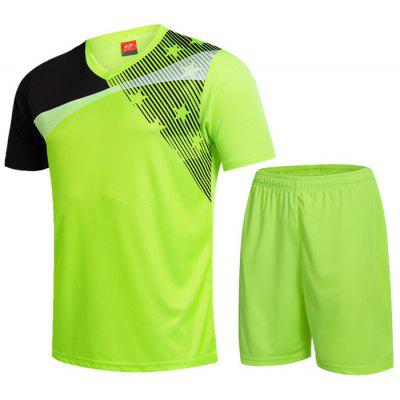 Men's Breathable Sports T-Shirt Set Short Sleeve Quick Dry